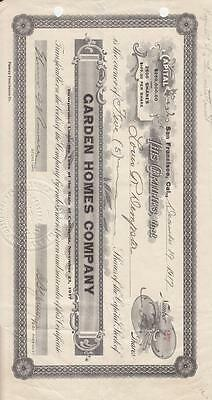 Stock Cert.: Garden Homes Company, Punch Cancel (S10337)