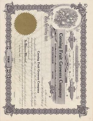 Stock Cert.: Corning Fruit Growers Company, Mint (S10340)