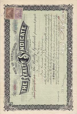 Stock Cert.: Realty Syndicate, Punch Cancel (S10362)