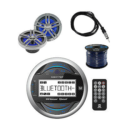 Dual MP3 USB Bluetooth Receiver W/ Loudspeakers, Speaker Wire and Marine Antenna