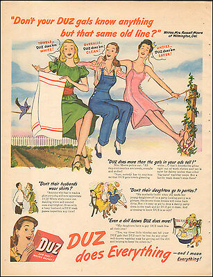 1946 Vintage ad for Duz laundry detergent`Art Retro Fashions Dress    071817