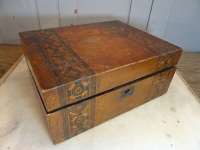 Antique wooden writing box slope marquetry detail