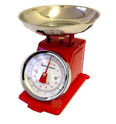 New Red Weighing Traditional Kitchen Scales Retro Stainless Steel Bowl Vintage