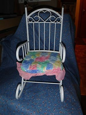 Nice White Doll Rocking Chair 16 Inch High at Back Gold Ball  Heart Motif
