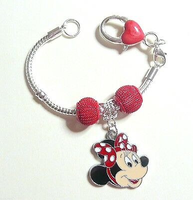 Minnie Mouse Red European SP Charm Bracelet 16cm Birthday Christmas Gift inc Bag