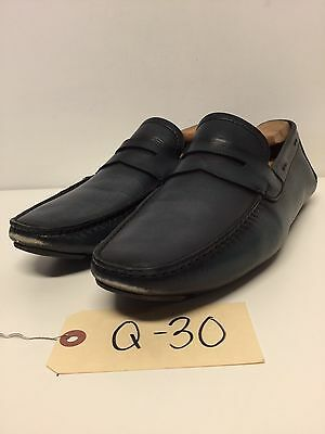 Q30 Magnanni Dylan Navy Leather Slip On Shoes Men's Size 8.5 M