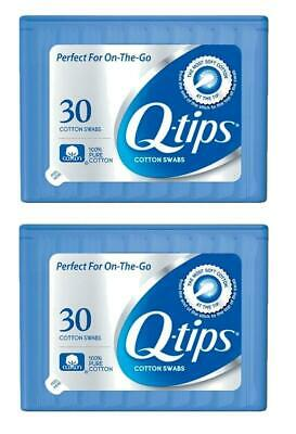 Set of 2 Q-Tips Cotton Swabs 30 per Pack Perfect For on the Go
