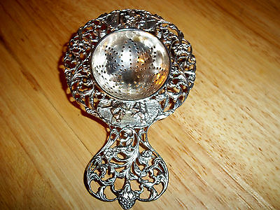 Antique Ornate 830 Sterling Silver Tea Strainer Norway