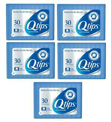Lot Of Five Q-Tips Cotton Swabs 30 per Pack Perfect For on the Go