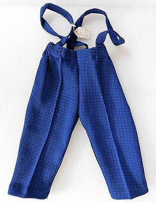 Vintage 1960s childrens trousers with straps UNUSED Age 1 year baby clothes blue