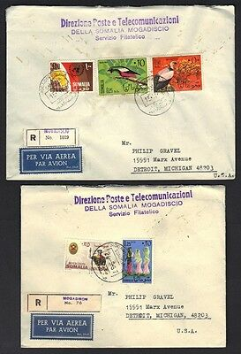 SOMALIA 1960-70's COLLECTION OF 6 REG. COMMERCIAL COVERS ALL DIFFERENT FRANKINGS