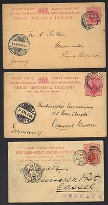 UK GB 1890's 3 POSTAL CARS QUEEN VICTORIA & KING EDWARD 1p FROM BRIXTON WORTHING