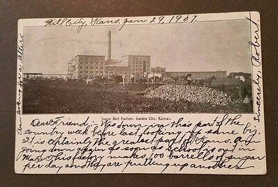 Sugar Beet Factory - Garden City, Kansas - Hill City Jun. 29th 1907 Postcard ej