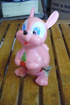 Vintage EASTER UNLIMITED- Wind-up  Plastic Hopping Pink Bunny No.3724 -WORKS