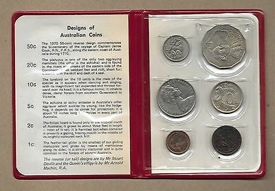 1970 Australia 6-Coin Uncirculated Mint Set In Red Booklet