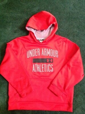 Boys Under Armour Hoodie Size Youth Medium Red Color VG Used Condition