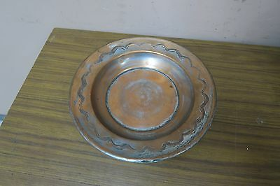 """Vintage Israel  Copper Tray Plate 9.5"""" Sticker Marked Esther Doron"""