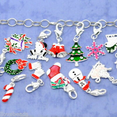 50Pcs Clip On Charms Fit Link Chain Bracelets Enamel Christmas Silver Plated