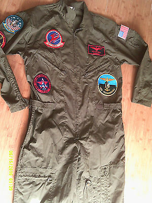 Mens Green Military Flight Suit Air Force Flight Coveralls ROTHCO PATCHES Medium