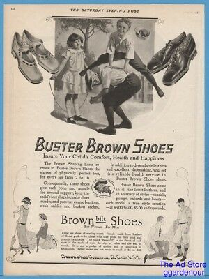 1924 Buster Brown Shoe Co St Louis MO Boys Play Leapfrog Girl Jump Rope Art Ad
