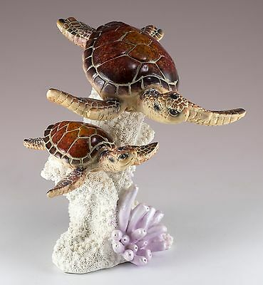 Brown Sea Turtles On Coral Figurine 6 Inch High Detailed Resin New In Box!