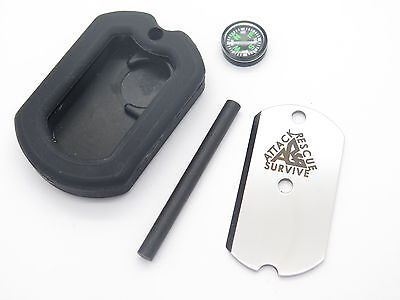 Ars Military Id Dog Tag Knife Emergency Survival Signals Compass Firestarter Kit