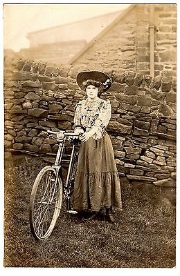 Rare Early Real Photo Postcard Young Woman With Bicycle-Dry Stone Wall Behind