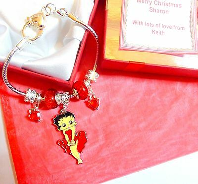 Betty Boop Charm Bracelet Heart Clasp Any Wording Personalised Gift Box Tag