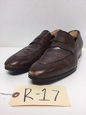 R17 Santoni Will Brown Leather Penny Loafer Men's Size 7.5 M