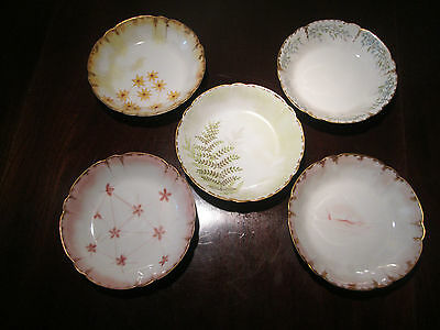 H&Co. Limoges Hand Painted Berry/Dessert Bowls (5) Signed  S.A.K 1890