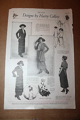 1920 Designs by Harry Collins Ad Afternoon Frock Apricot Voile Street Dress Rare