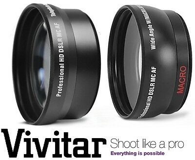 2Pc HD Telephoto & Wide Angle Lens Kit For Sony Alpha A6000 ILCE-6000L ILCE-6000