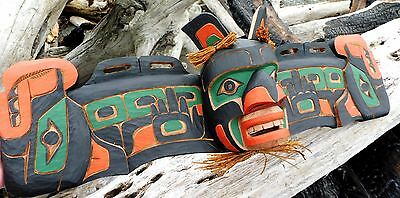 """Northwest Coast First Nations wooden Art carving: Sea Serpent Mask, 31"""", signed"""