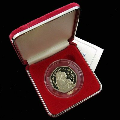 Rare 1990 Proof Madonna with Child 50 Pence Christmas Coin by Gibraltar - UNC