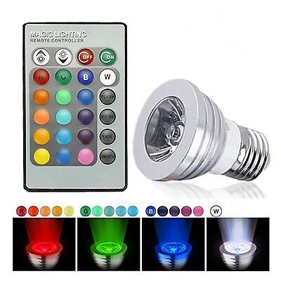 LED Color Changing Light Bulb Dimmable RBG 16 Multicolored E27 Lamp Bulb with RC