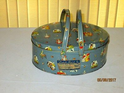 Rare Dutch Maid English Style Biscuit Tin Picnic Style Handles & Original Label