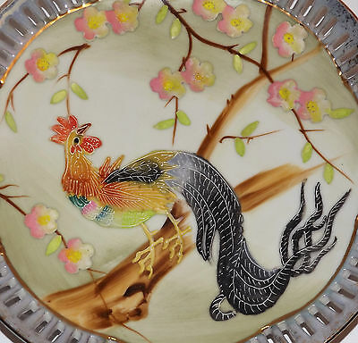 BEAUTIFUL ANTIQUE JAPANESE Bird of Paradise Rooster VTG MORIAGE PORCELAIN PLATE