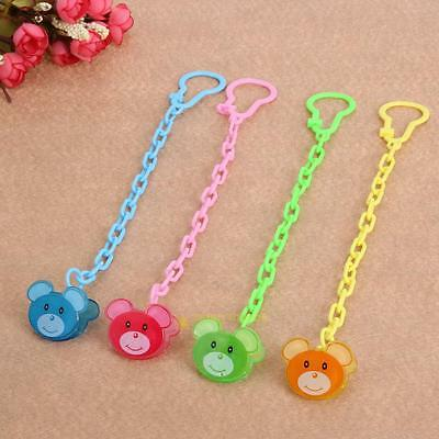 4pcs Cute Bear Baby Kids Dummy Pacifier Soother Nipple Leash Strap Clip Holder