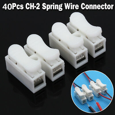40pcs 2p CH2 Quick Connector Cable Clamp Terminal Block Spring Connector Wire