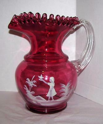 Lovely Vintage Cranberry Glass Mary Gregory Decorated Ruffled Pitcher