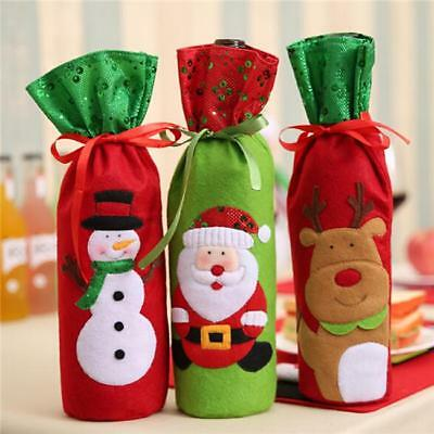 Christmas Theme Wine Bottle Holder Cover Gift Bag Presents Table Xmas Bags LG