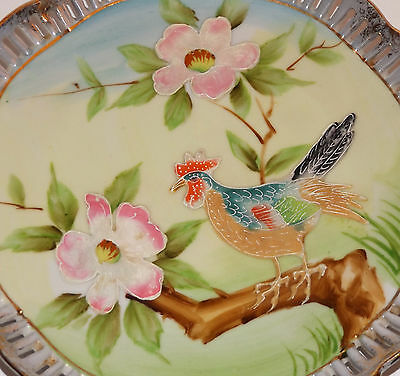 BEAUTIFUL ANTIQUE JAPANESE Rooster or Hen Bird VINTAGE MORIAGE PORCELAIN PLATE