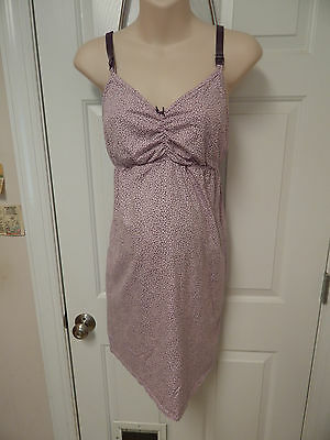 bump in the night maternity nursing nightgown L large pink/purple polka dot