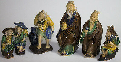 Lot of 7 Vintage Chinese Mud Man Figures From Private Collection
