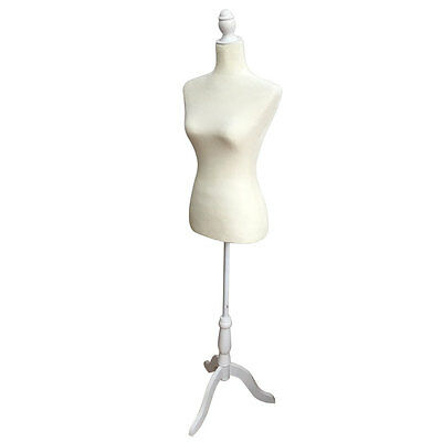 White Female Mannequin Torso Dress Form Display W/ White Tripod Stand Size 36