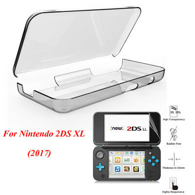 For Nintendo 2DS XL LL 2017 Clear Hard PC Shell Case Cover +HD Screen Protector