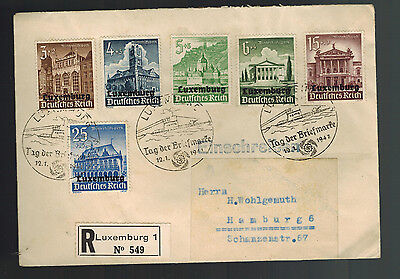 1941 Luxembourg Occupation Cover to Germany Stamp Day Cancel Semi Postals