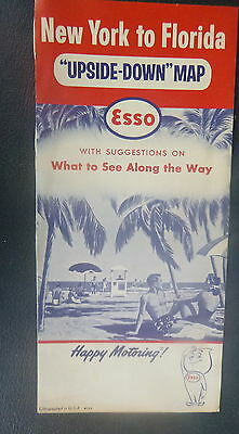 1960 New York to Florida upside-down   road  map Esso oil
