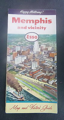 1959 Memphis street  map metro roads  Esso oil gas Downtown cover Tennessee