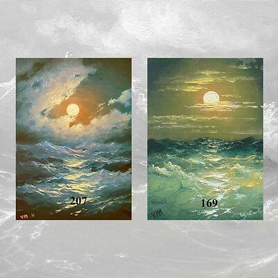 LOT #24 of 2 ACEO FINE ART PRINTS SEASCAPE Night Moonlit MESH Stormy Ocean Wave